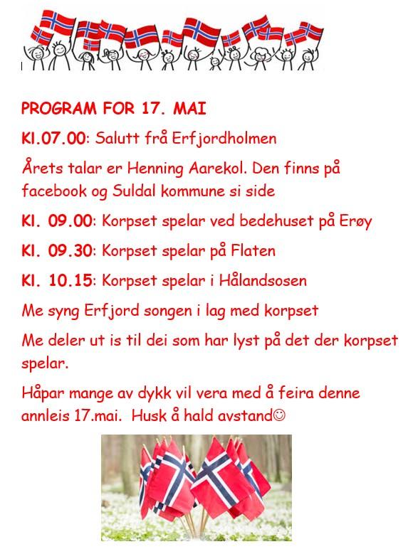 Erfjord 17. mai program 2020